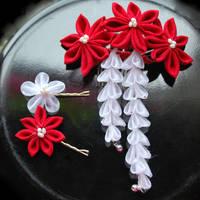 Ruby Wedding. Custom Kanzashi by hanatsukuri