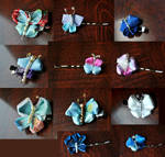 Blue butterfly bobby pins