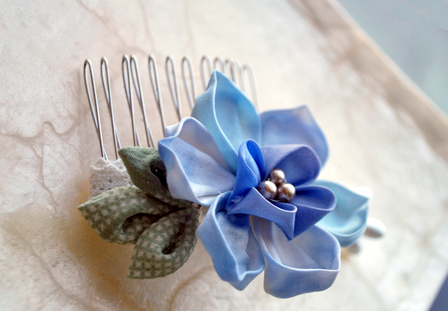 Blue Lotus. Hand Dyed Kanzash. by hanatsukuri