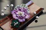 Purple Lotus Boutonniere. Tsumami Kanzashi.