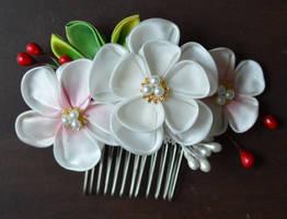Handmade Ume kanzashi. wedding set. by hanatsukuri