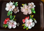 Ume and Holly tsumami kanzashi boutonniere