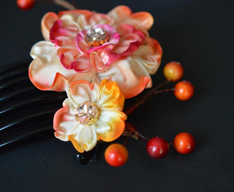 Sunset flower. Orange Wedding Kanzashi. by hanatsukuri