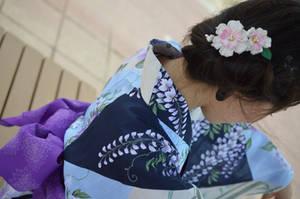 Girl in Yukata and Lotus Kanzashi