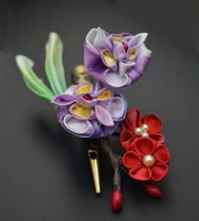 Spring kanzashi. iris and plum blossom clip. by hanatsukuri
