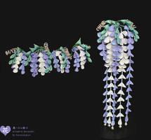 Fuji Kanzashi Set. Wisteria Hairpins in silk. by hanatsukuri