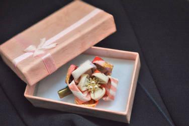 Plum Blossom Clip in kimono silk. by hanatsukuri