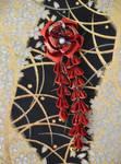 Tsubaki Kanzashi. Red kimono fabric hair clip.