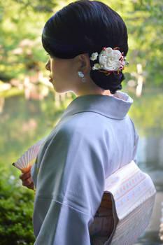 Modeling in Kimono: Grand white ume kanzashi.