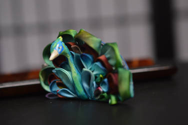 Peacock Kanzashi. Hand dyed silk hand painted clip