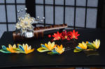 Kanzashi or Tsumami Zaiku Hand Dyed Flowers.