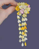 Nanohana:canola blossom tsumami zaiku.Doll Hairpin