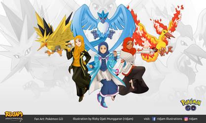 Pokemon Go Team Leaders with Legendary Pokemon by RIDJAM