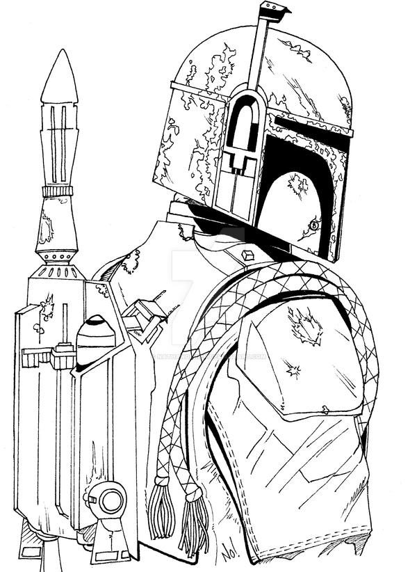 Boba fett line art by nathanobrien on deviantart for Jango fett coloring pages