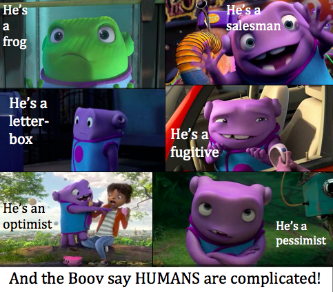 ID: the Boov from the movie Home is visible in six panels immitating what is listed: He's a frog, He's a salesman, He's a letterbox, He's a fugitive, He's an optimist, He's a pessimist.  Along the bottom, the image reads: And the Boov says HUMANS are complicated!