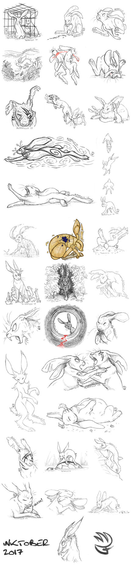 Inktober 2017: HARE SERIES by AlfaFilly