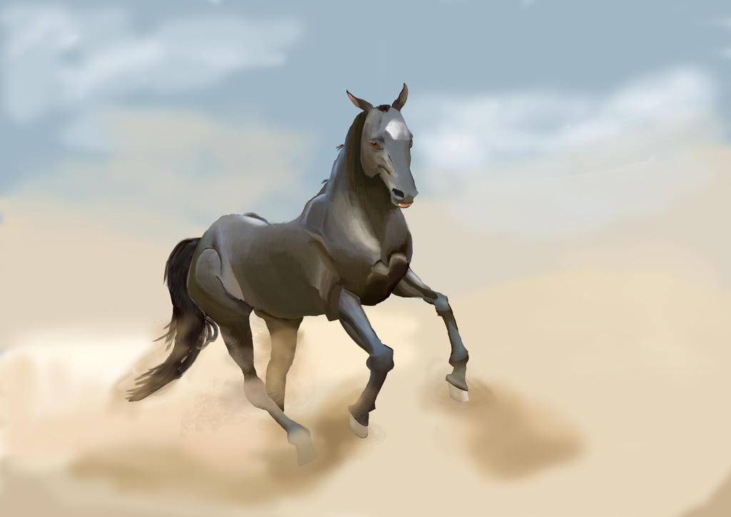 Digital Painting study: horse by TamamoMae