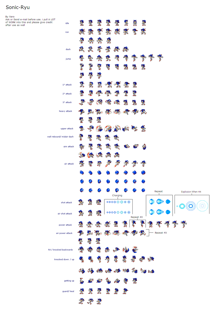 Sonic Ryu sprite sheet by Rudolphtheehcidna