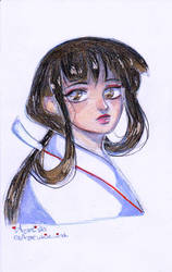 Inuyasha: Quick Kikyo sketch (colored)