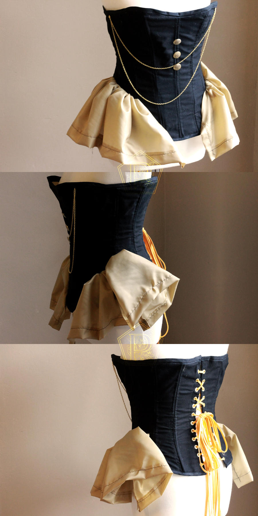 Handmade steampunk steel-bones corset by pendorabox