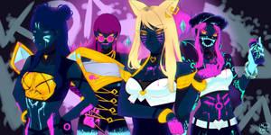 [FANART] K/DA POP/STAR (neon edition) by RollingGiru