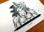 Goku Super Saiyan 4 Pencil and Ink artwork by strangersknight