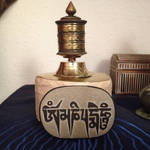 Tibetan Prayer Mill with Mantra (2) by derwahrehorst