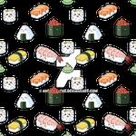 Kawaii sushi tiled pattern