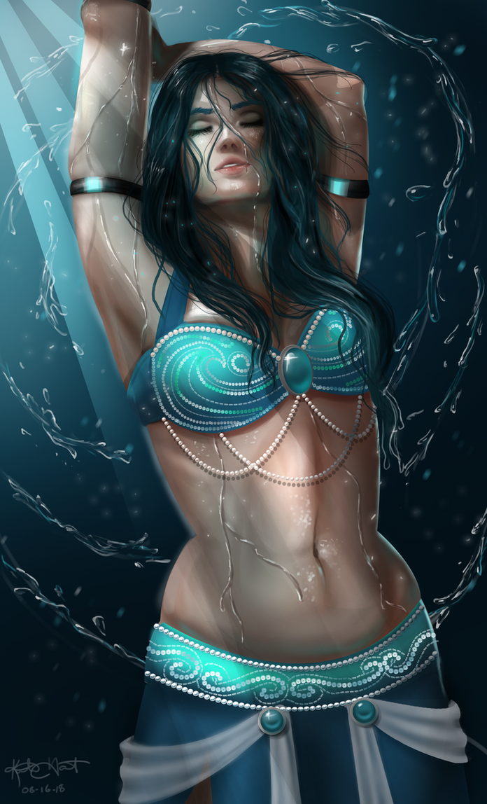 Elemental Belly Dancer - Water redraw w/video by andromacke