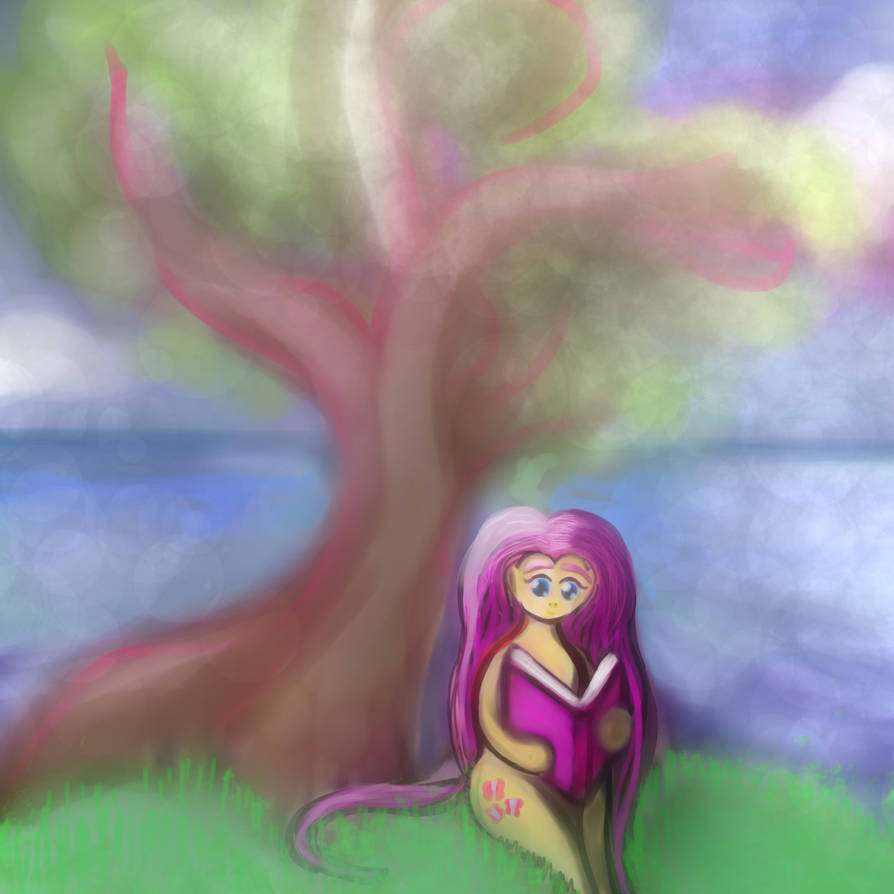 Fluttershy Reading by SelLillianna