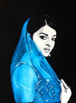 Aishwarya Rai blue saree