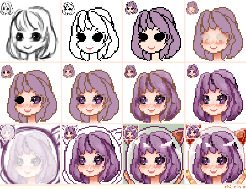 Pixel Icon Step by step by chi-rin