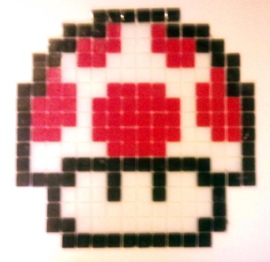 Power Up Mushroom Glass Mosaic by TripAddict