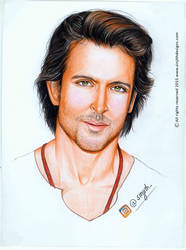 Actor Hrithik Roshan - Colored Pencil Drawing by sinjith