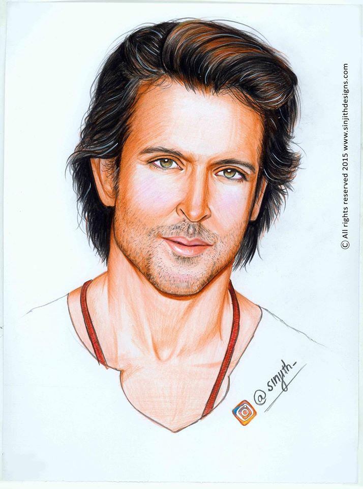 Actor Hrithik Roshan Colored Pencil Drawing By Sinjith On Deviantart
