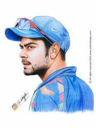 Virat kohli - Realistic Colored Pencil Drawing by sinjith