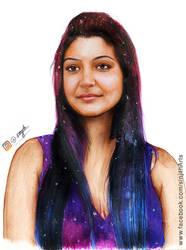 Anushka Sharma - Colored Pencil Drawing by sinjith