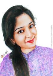 Aparna Thomas - Realistic Colored Pencil Drawing by sinjith