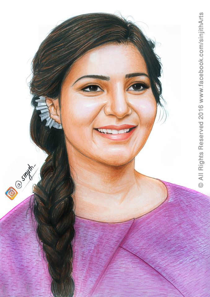 Samantha Ruth Prabhu Colored Pencil Drawing By Sinjith On Deviantart
