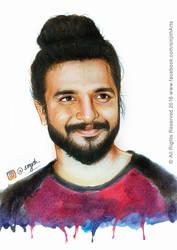 Actor- Neeraj Madhav - Colored Pencil Drawing by sinjith