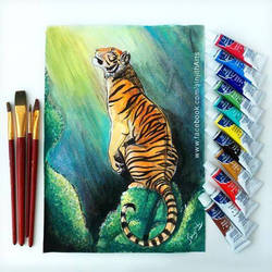 Tiger - watercolour painting by sinjith