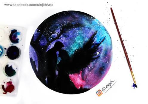 Galaxy love - watercolour painting