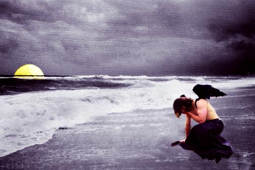 Fallen Angel on the beach by JellyTroubleSuki