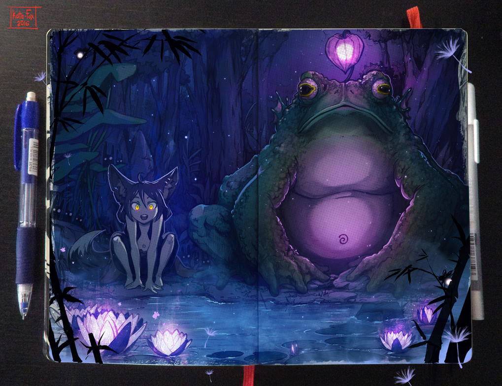Moleskine: Magical pond by Kate-FoX
