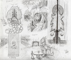 The Dragon's Library Concept Sketches