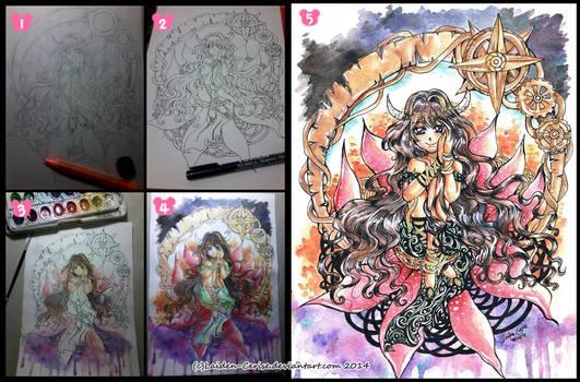 Taurus Girl WIP+Final artwork