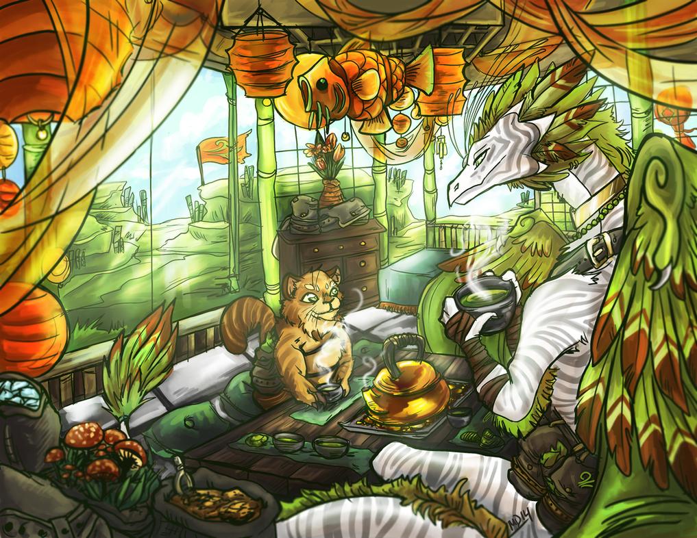 Genmaicha's teahouse by sanrixian