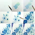 tips color flower with blue