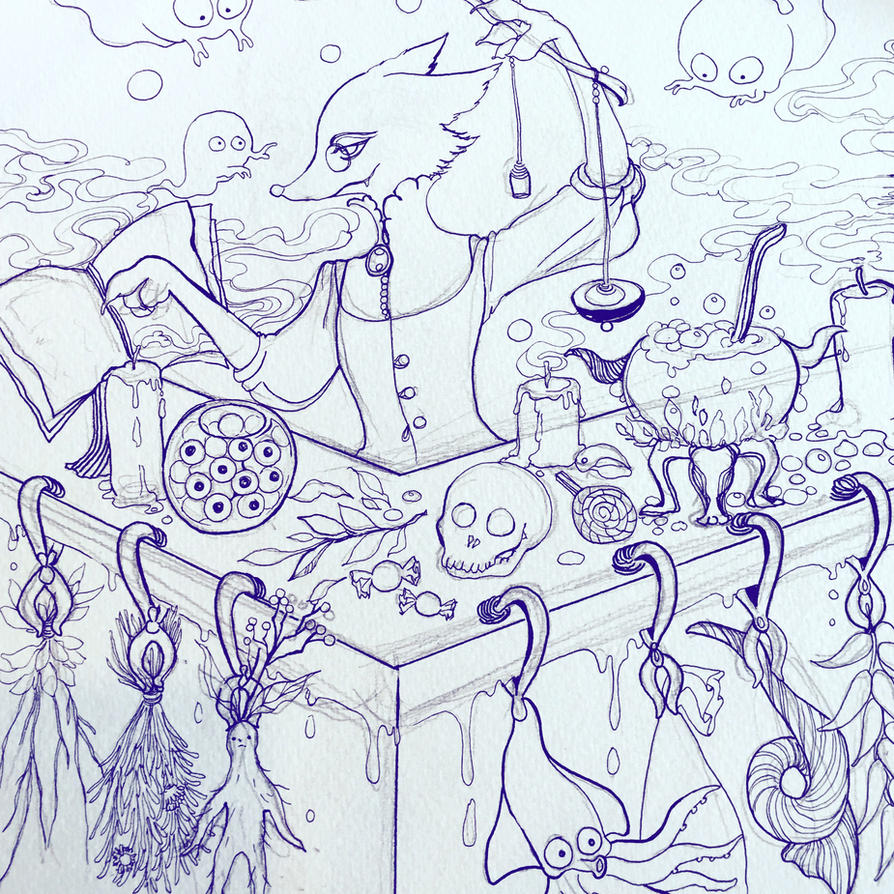 lineart spell laboratory by Lovepeace-S