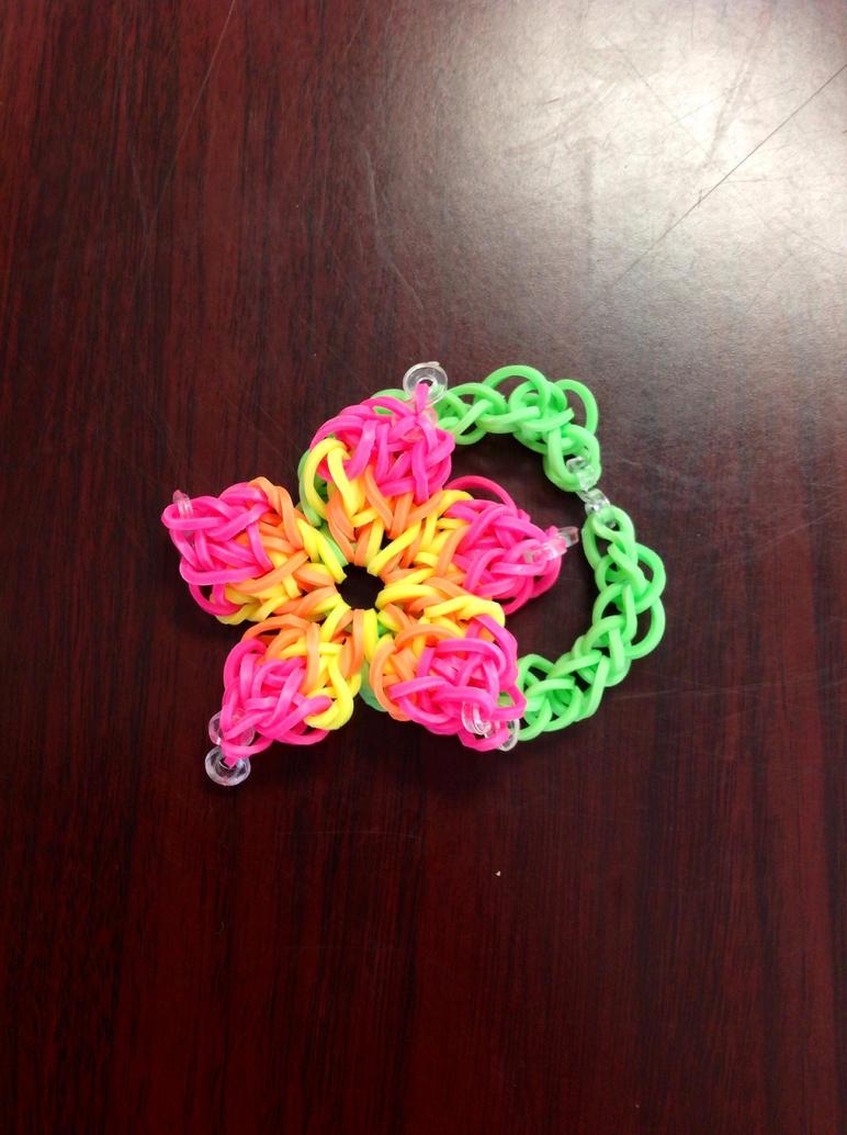 rainbow loom hibiscus bracelet loom bands by